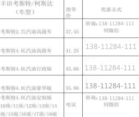 广西4S店考斯特10座价格.一汽丰田考斯特配置如何
