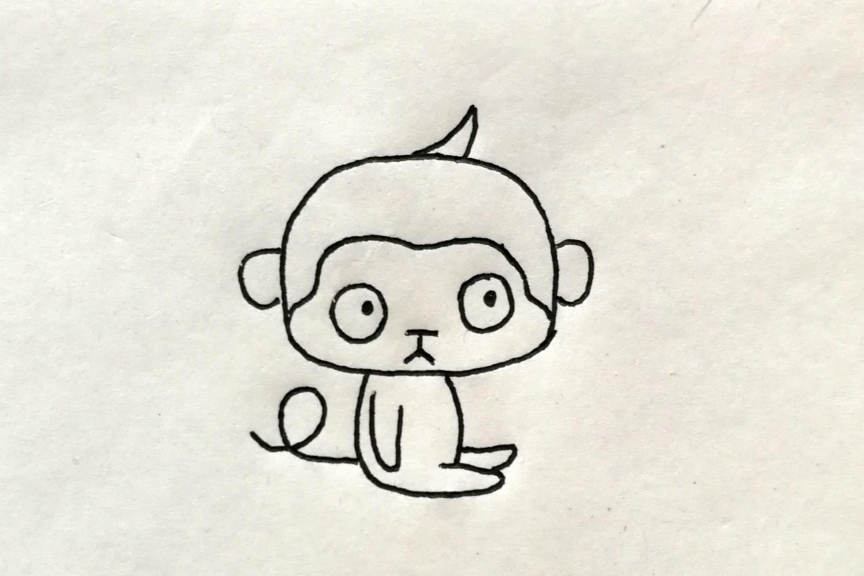 简笔画—猴子, 小朋友简单3步画出小猴子