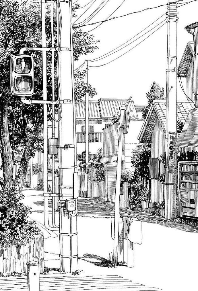 漫画中的黑白手绘场景