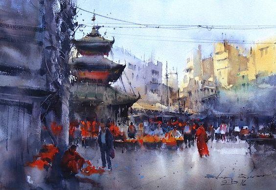 来自艺术家direk kingnok的城市水彩画作图片