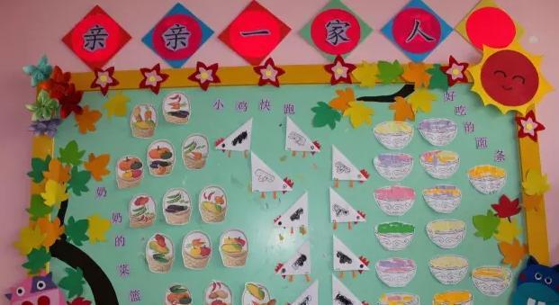 多向小朋友介绍幼儿园有哪些好玩的玩具;中间展示的是幼儿的绘画作品.图片