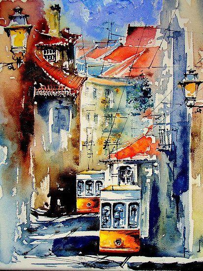 来自艺术家almeida coval的城市水彩画作_新浪看点图片