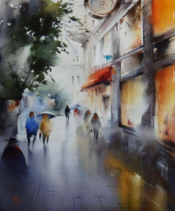 来自艺术家ilya ibryaev 的城市水彩画作图片