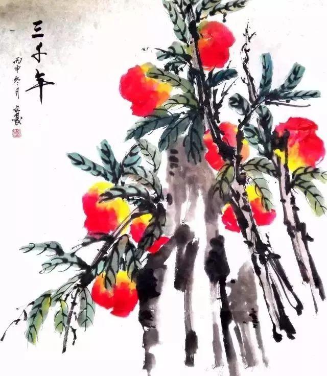 国画教程:桃子的画法!