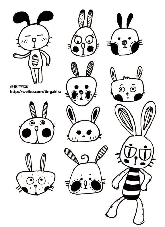 随手画的可爱小图案_可爱的动物简笔画 随手画了一些丑丑的小动物,小猫小狗小兔