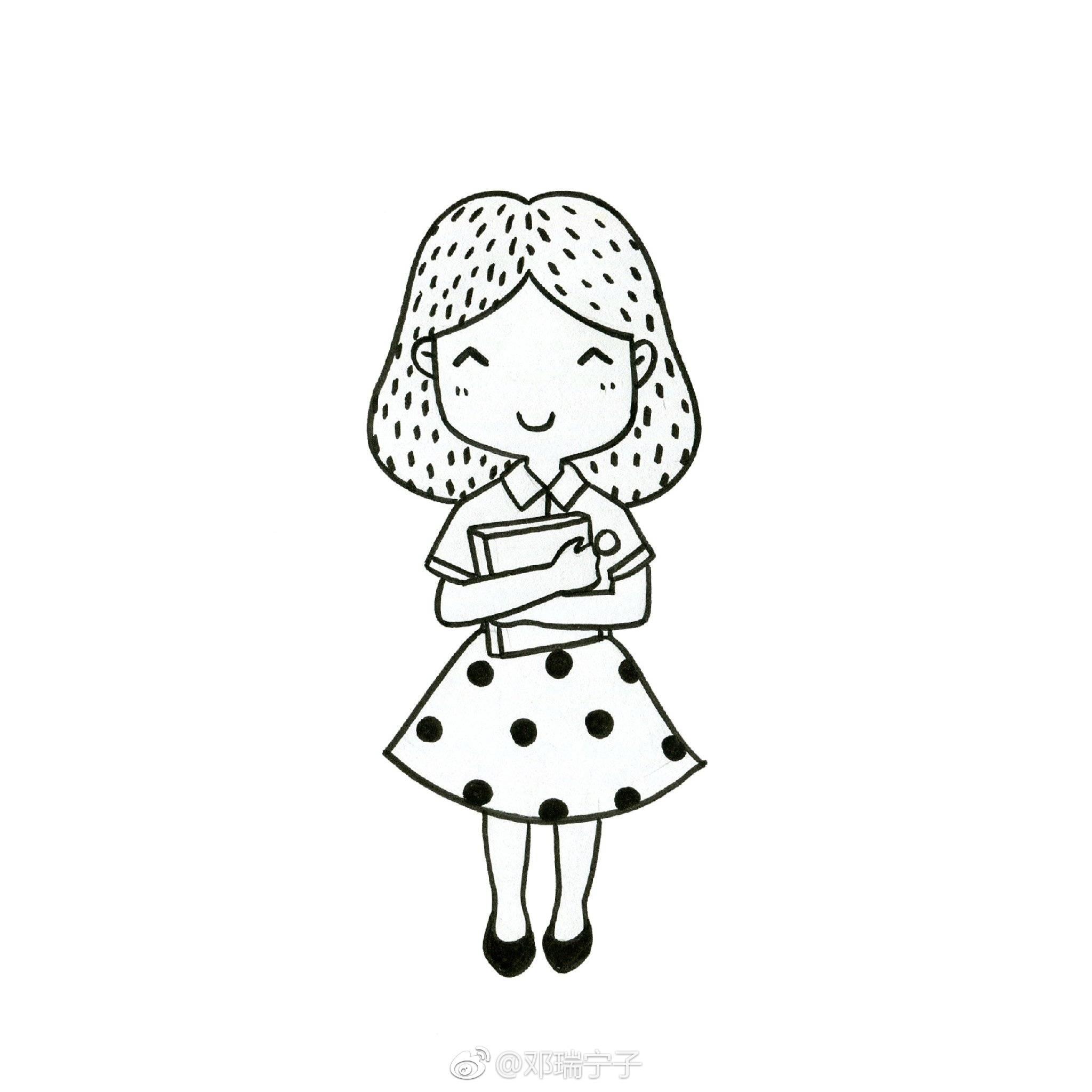手账简笔画素材 九个萌萌哒黑白简笔画小人物画像 邓瑞宁子