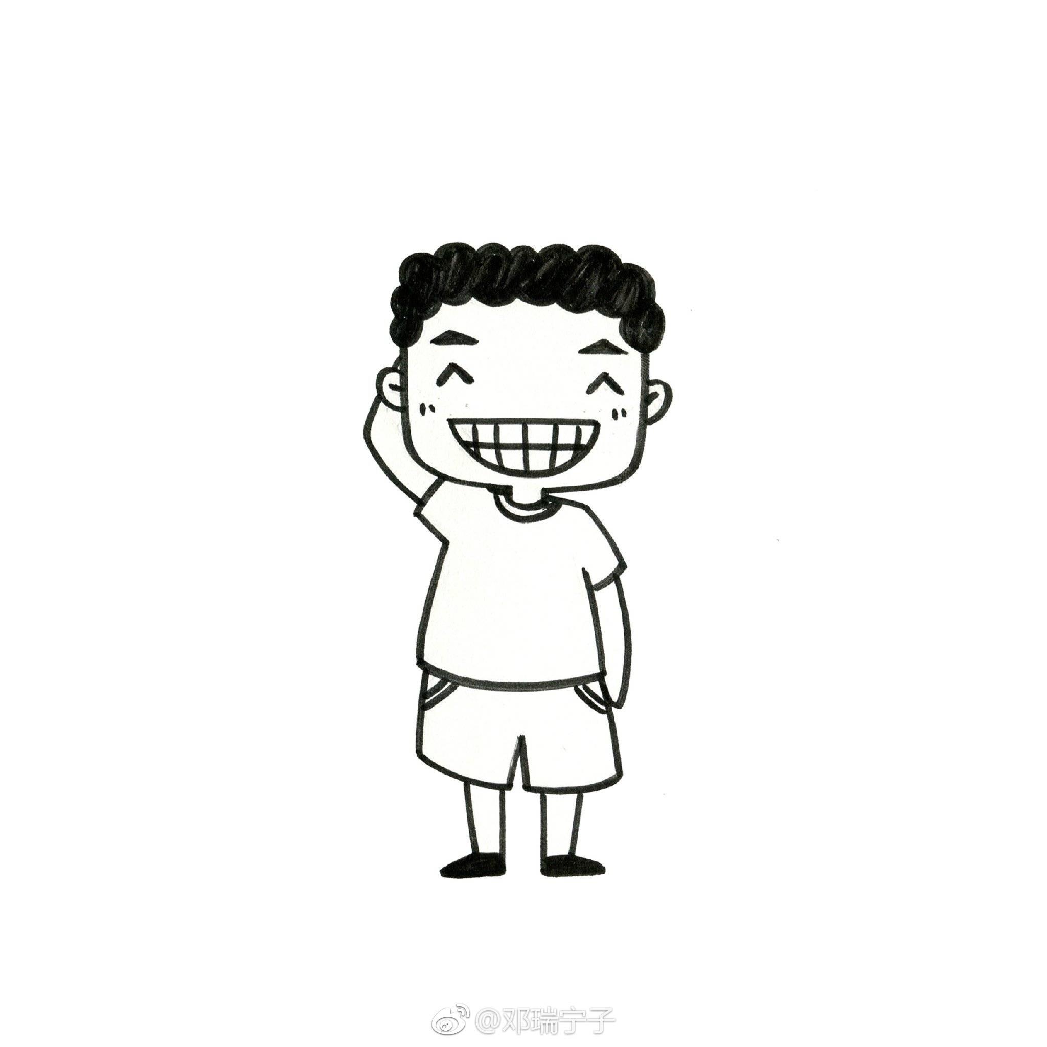 九个萌萌哒黑白简笔画小人物画像~图中哪个比较像你?
