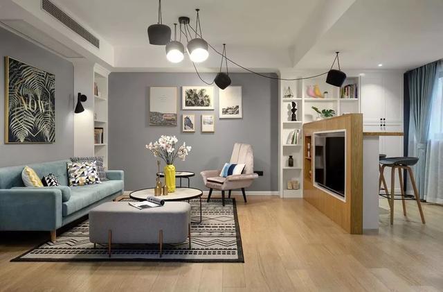 92㎡北欧简约新家,舍弃电视墙这样设计,也能又实用又