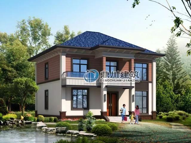 这款农村别墅设计简约美观,色彩搭配大方,蓝色的屋顶和朱红色的二楼图片