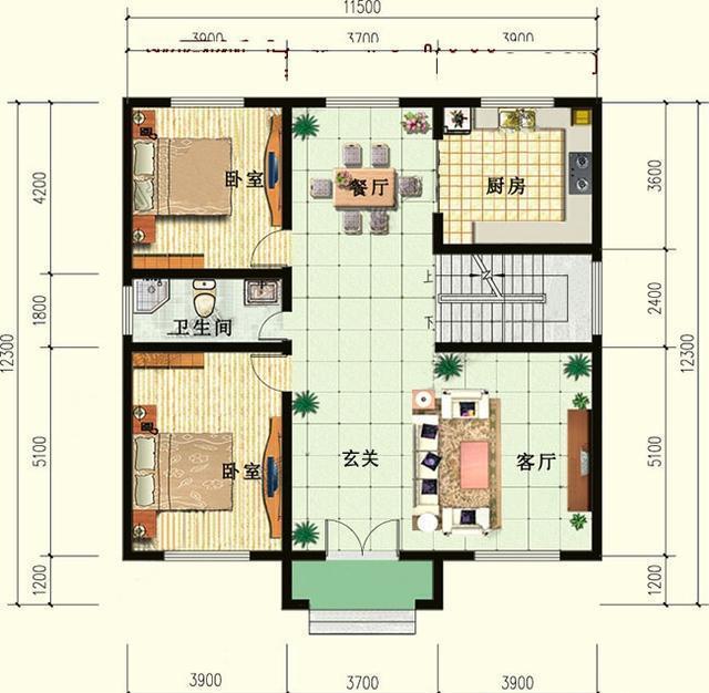 经典户型二层农村小别墅设计图,造价25万内图片