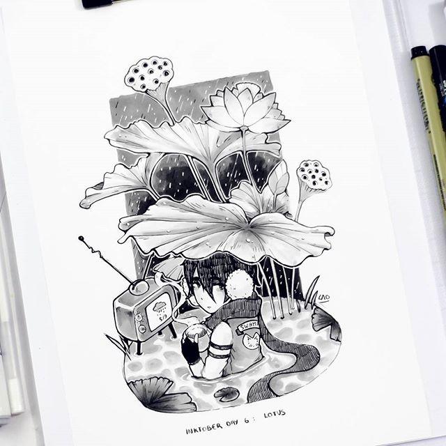 手绘人物黑白插画