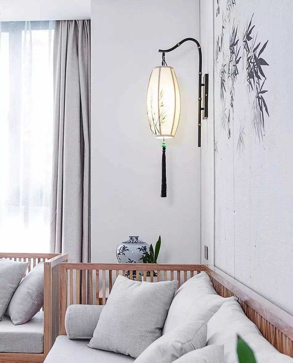 中式案例丨180㎡复式带庭院设计,客厅沙发背景墙太美了图片
