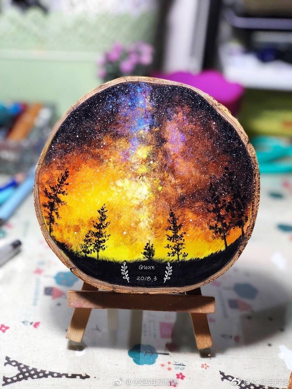 木片上的画. | 绘画图片