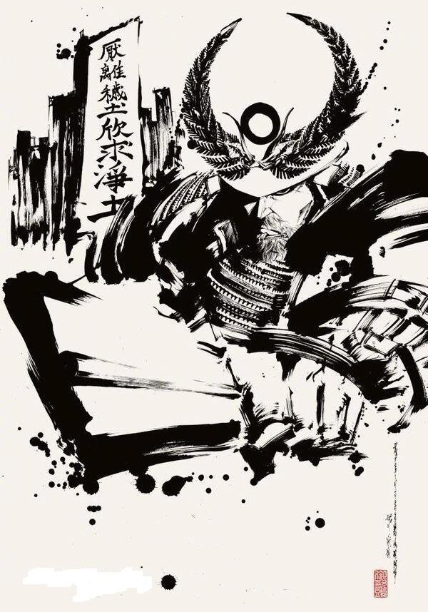 日本墨绘师 御歌头 水墨古风作品
