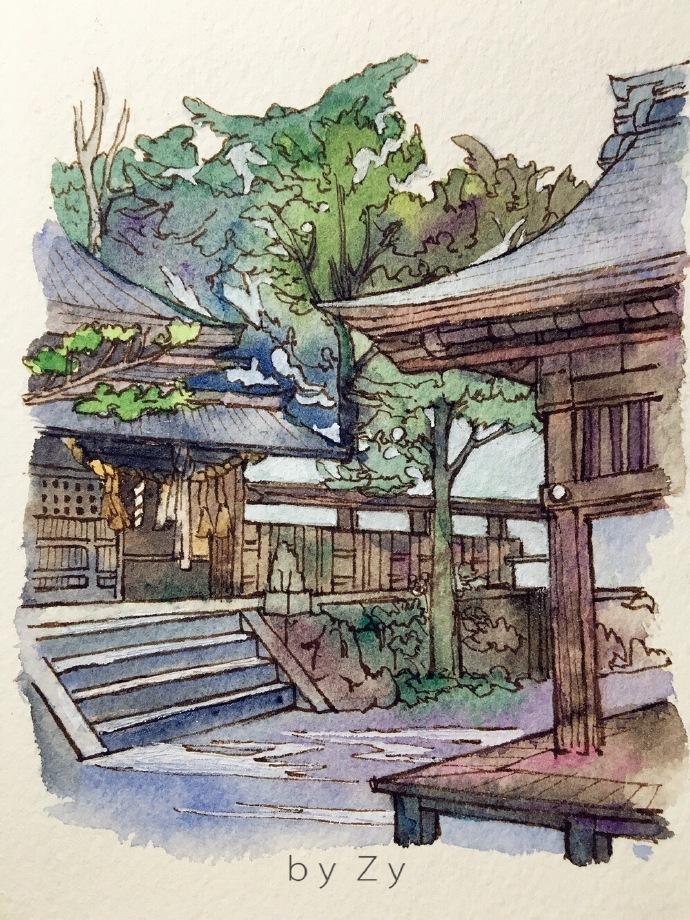 日本庭院-手绘风景画欣赏