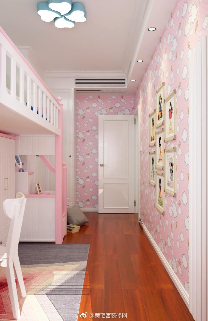 儿童房的粉色太吸引人了,将阳台改造成洗衣机房和书房很完美.