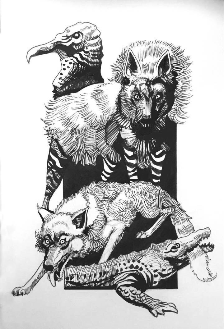 手绘黑白野生动物 | 加拿大画师 hugo puzzuoli_新浪看点