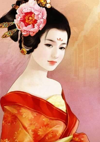 美女古装宫廷手绘图王妃