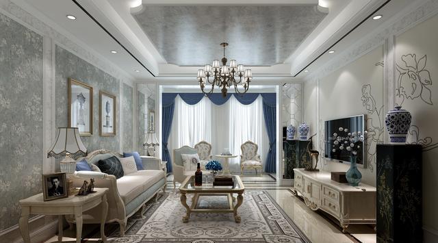 兰州实创装饰装修效果图 和泰馨和园欧式风格 蓝灰色优雅格调