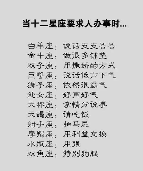 写字最难看排行榜第八名双鱼座【当十二星座办事人要求时……】太阳月亮双子座图片