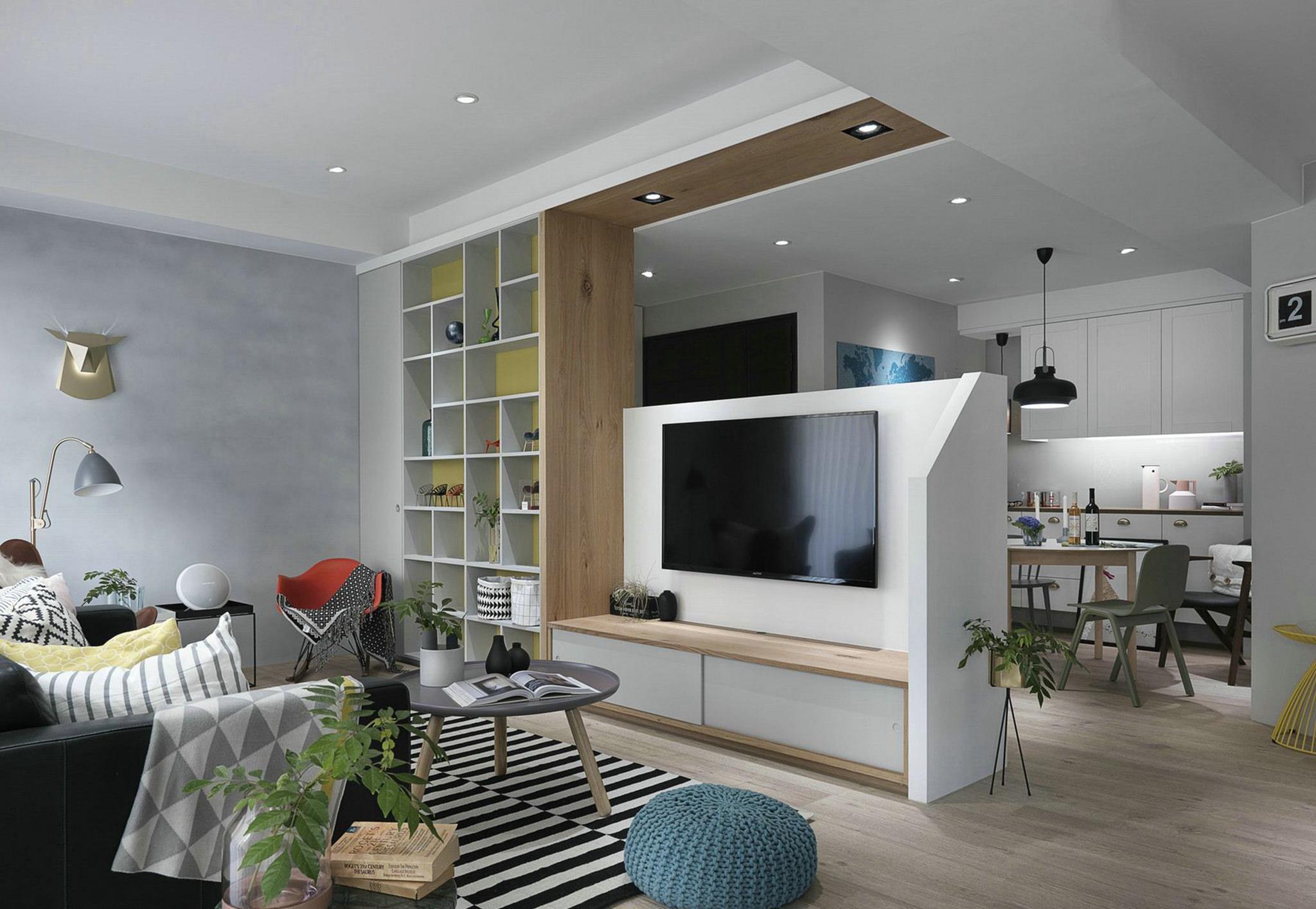 太原110㎡北欧风格装修案例,电视背景墙个性十足,人见