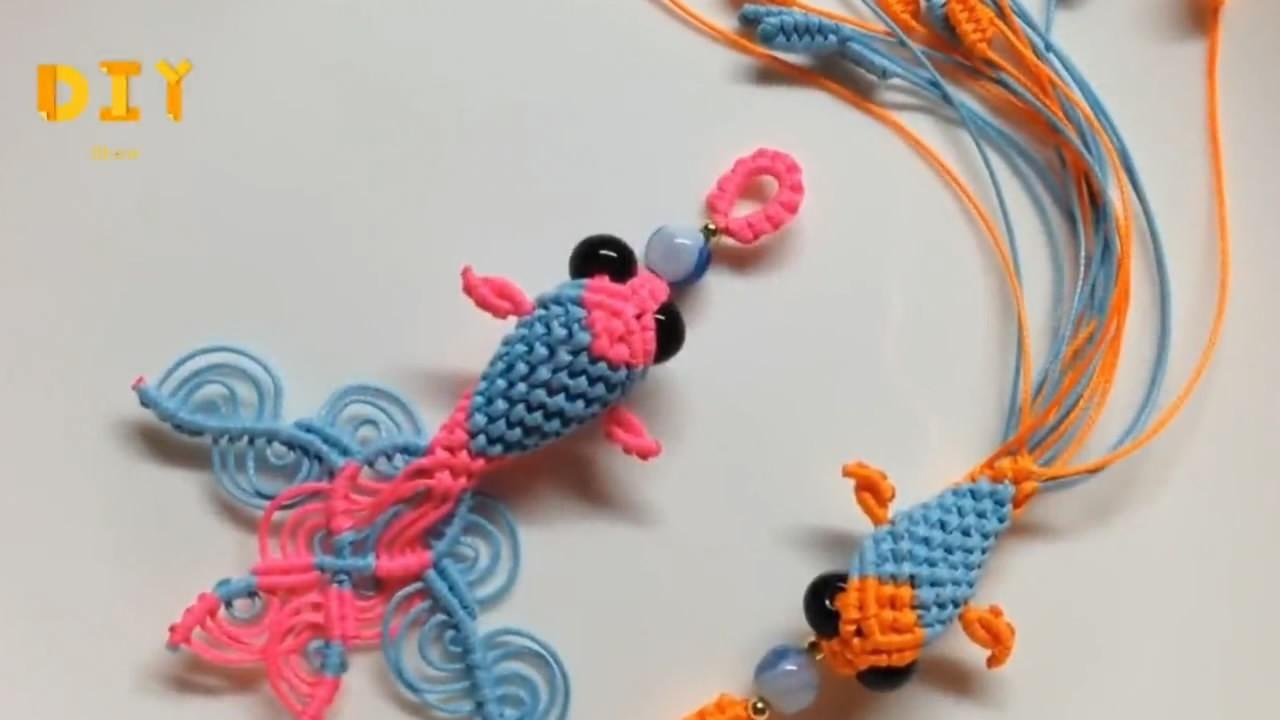 手工编绳教学,教你编织立体金鱼钥匙链(图解3-2)