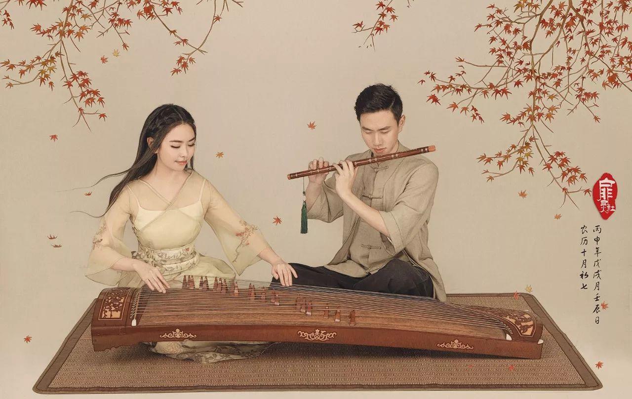 在场景中融入中国风的元素,比如梅花,梳妆台,中式桌椅,茶具,水墨画等