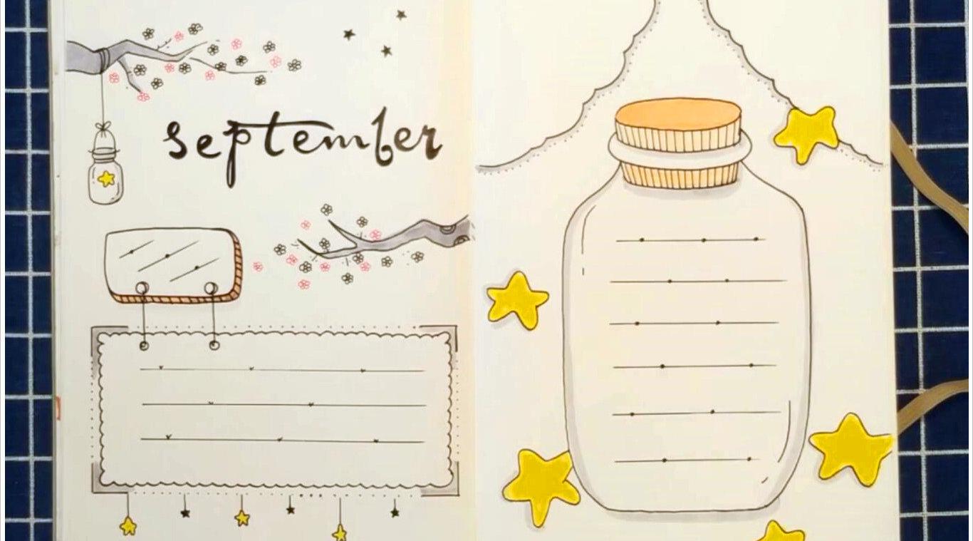 九月你好手抄报手帐模板分享~@小样卡通画图片