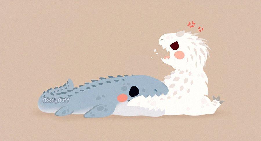 可爱的小龙和小恐龙,超凶的!(ω`)(twi:floofyfluff)