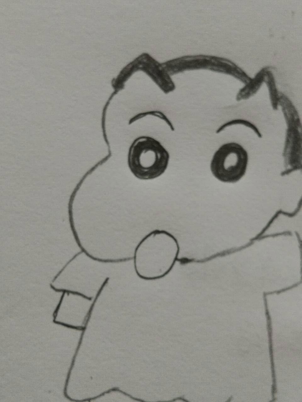 幼儿园亲子手工简笔画卡通动漫绘画之蜡笔小新的铅笔画教程