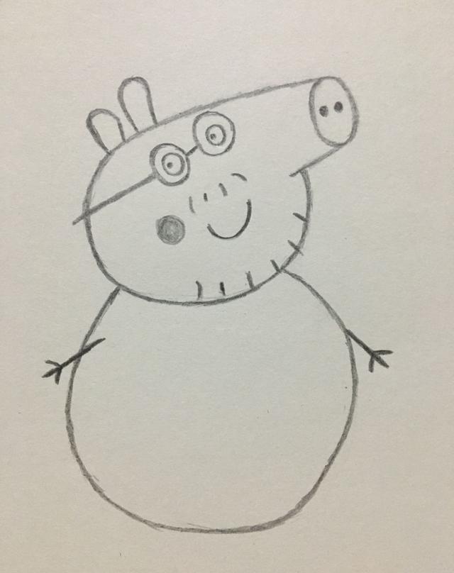简笔画——小猪佩奇爸爸的画法