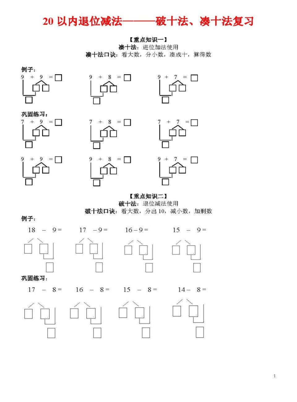 【重点知识二】 破十法:退位减法使用 破十法口诀:看大数,分出10,减图片