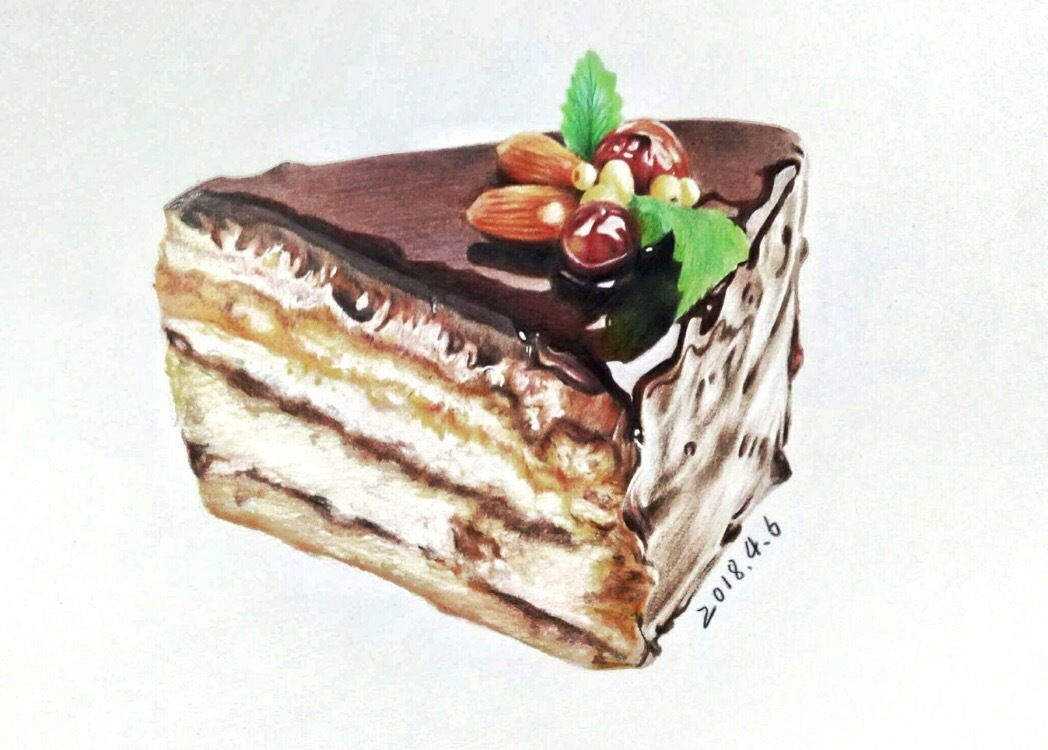 彩铅手绘:蛋糕