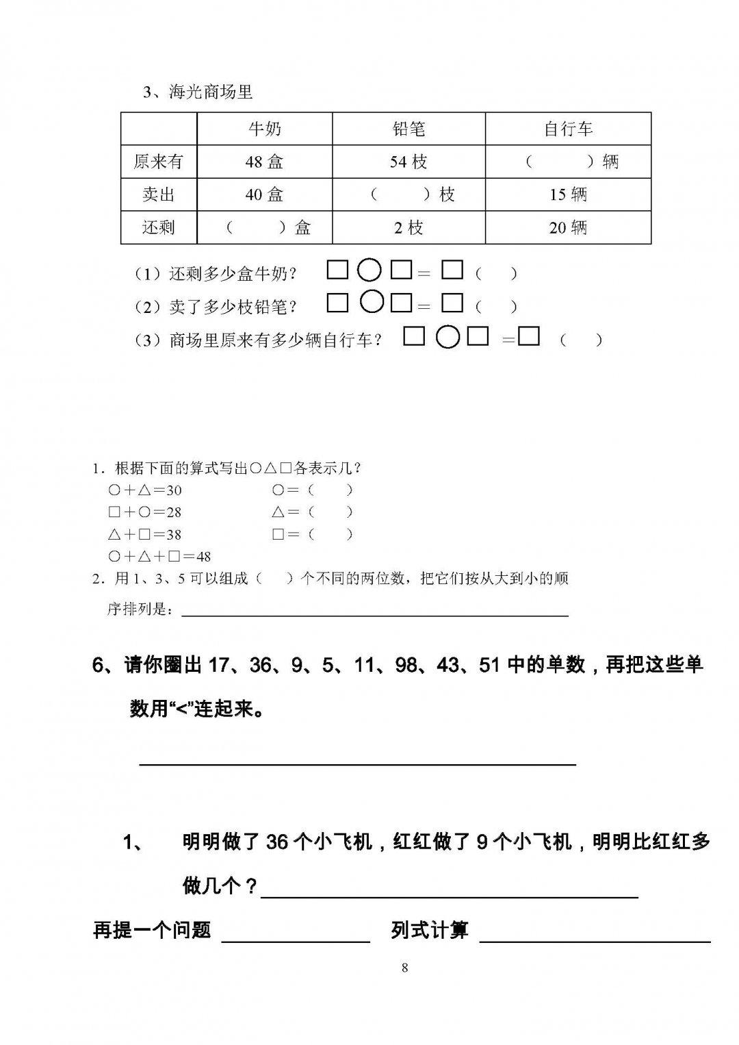 最新小学一年级下册数学应用题,找规律,加减运算试题精选图片