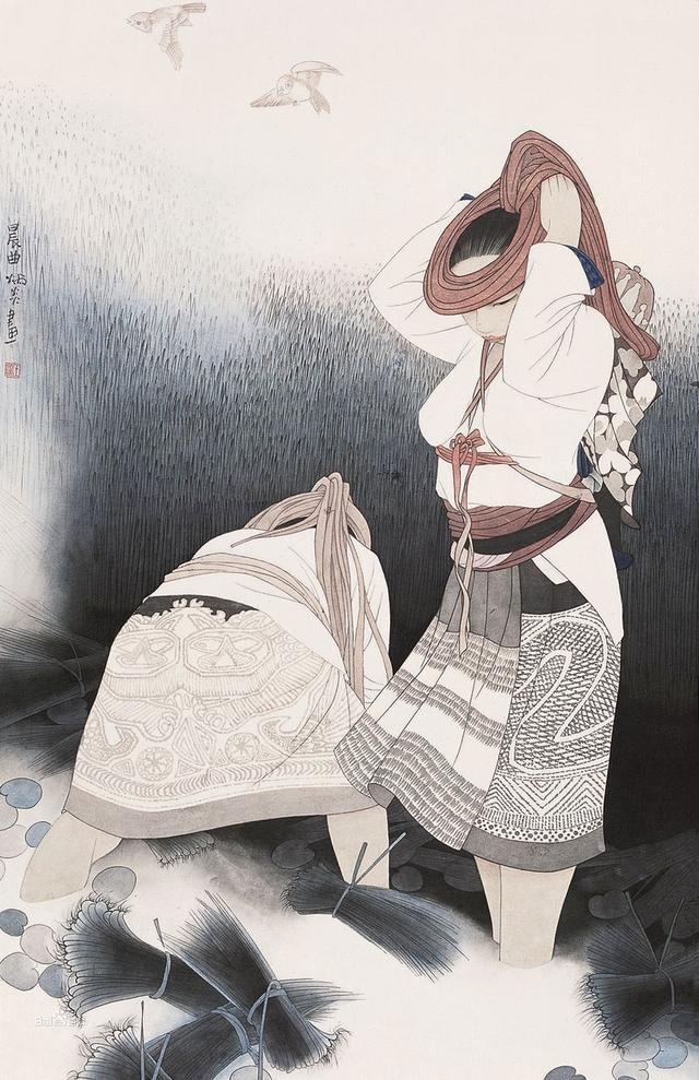 王炳炎|工笔少数民族人物画欣赏
