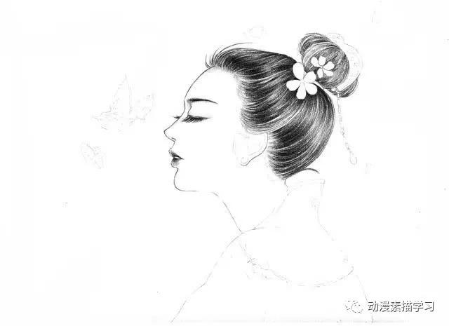 素描入门学习;一个古风美人的素描教程|蝴蝶|hb铅笔