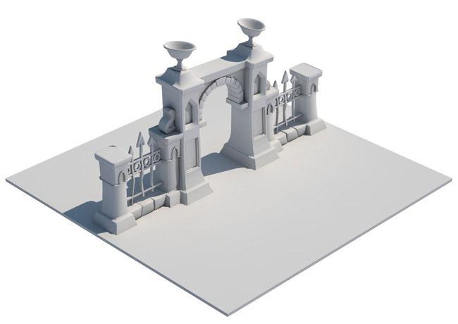 游戏场景3d建筑模型.