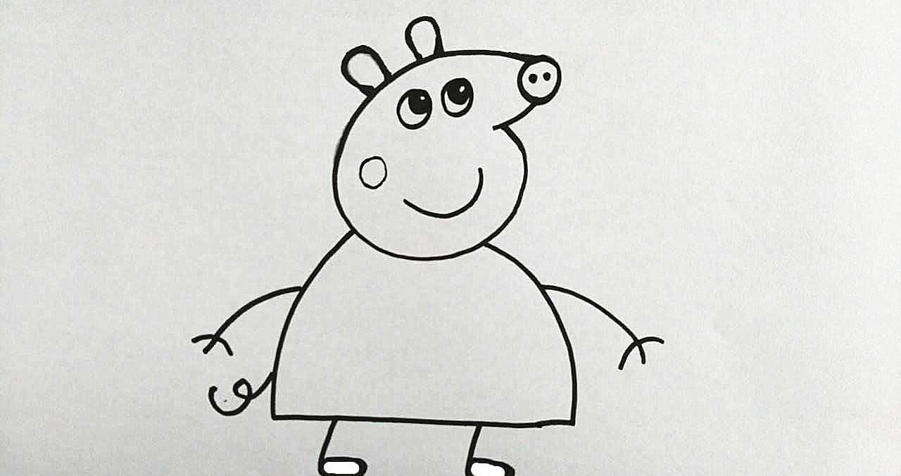 育儿简笔画: 如何用数字6画小猪佩奇? (图文解析)图片