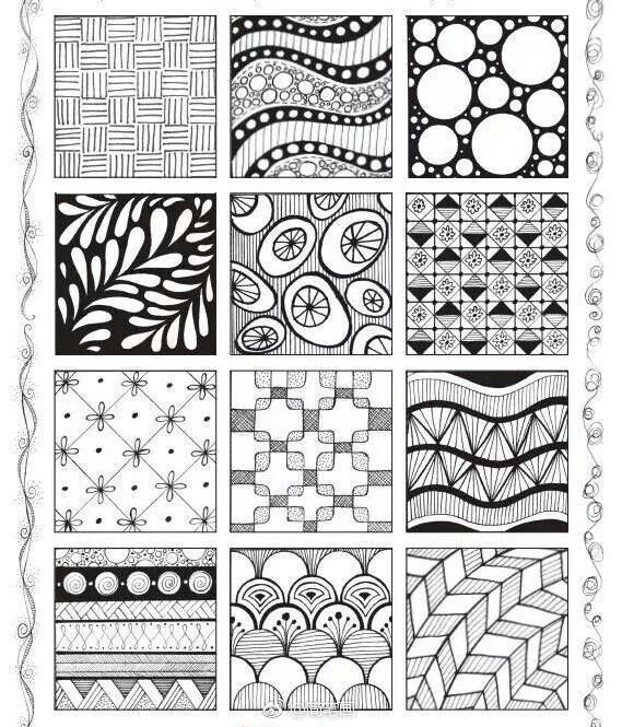几百例黑白手绘纹理素材,练习线条的小伙伴马住!