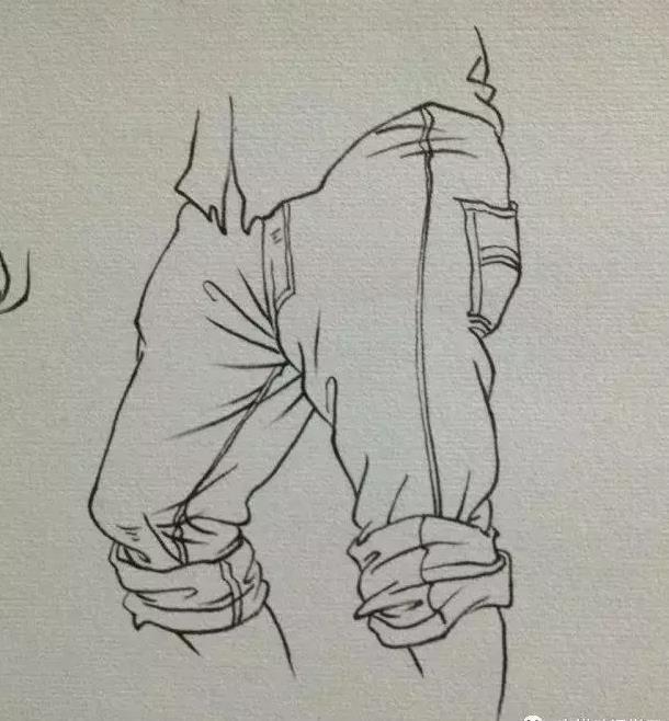 速写衣服裤子衣褶画法教程图片