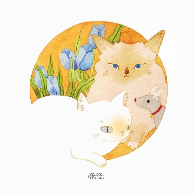非常清新的猫咪水彩手绘插画 猫奴们收做头像吧!
