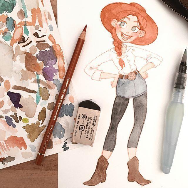 水彩,彩铅,马克笔手绘可爱女孩插画师 karolinepietro