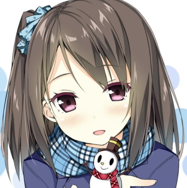 动漫大头贴:暖冬美少女,可爱的小雪人真是太萌了.