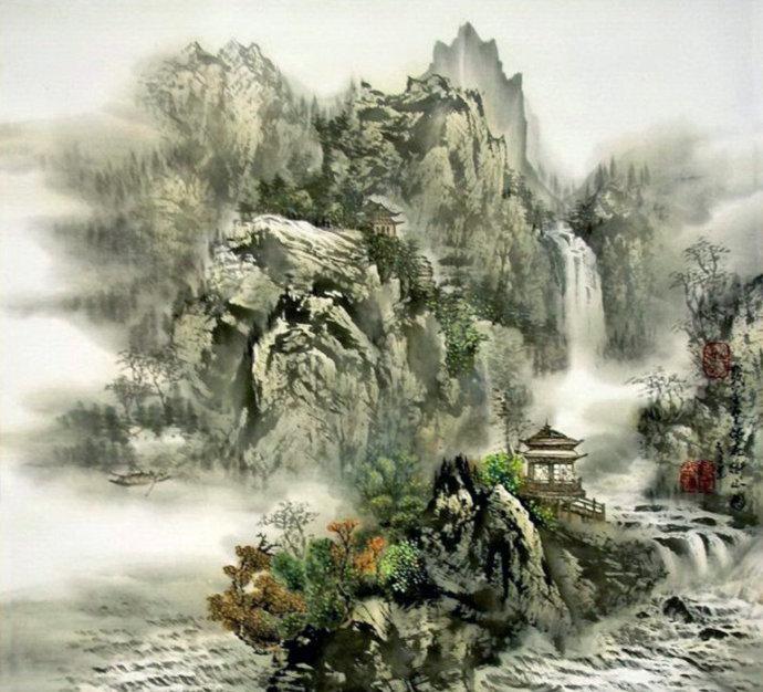 中国画家李一功山水画作品欣赏图片