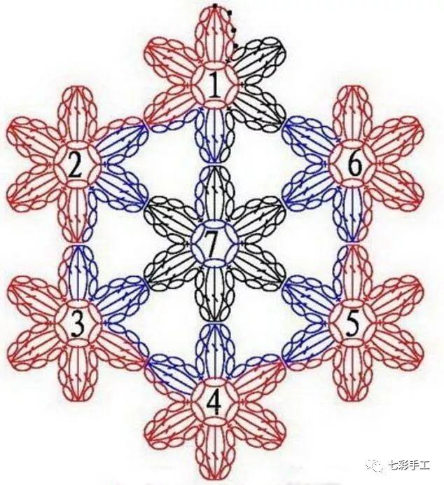 七朵小花单元花钩针编织教程,功能太强大,各种垫子都能用到它