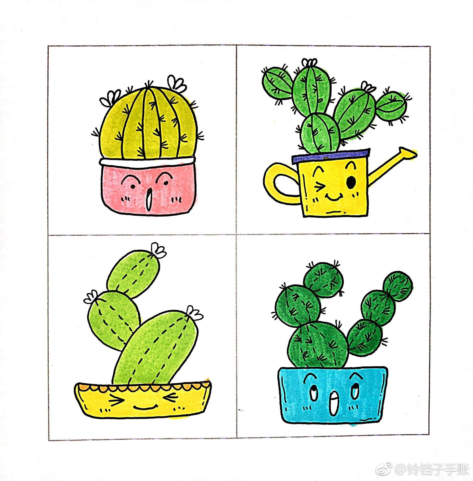 绿色植物.绘者:@铃铛子手账 @手绘插画教程 @简笔画 @懒人简笔画