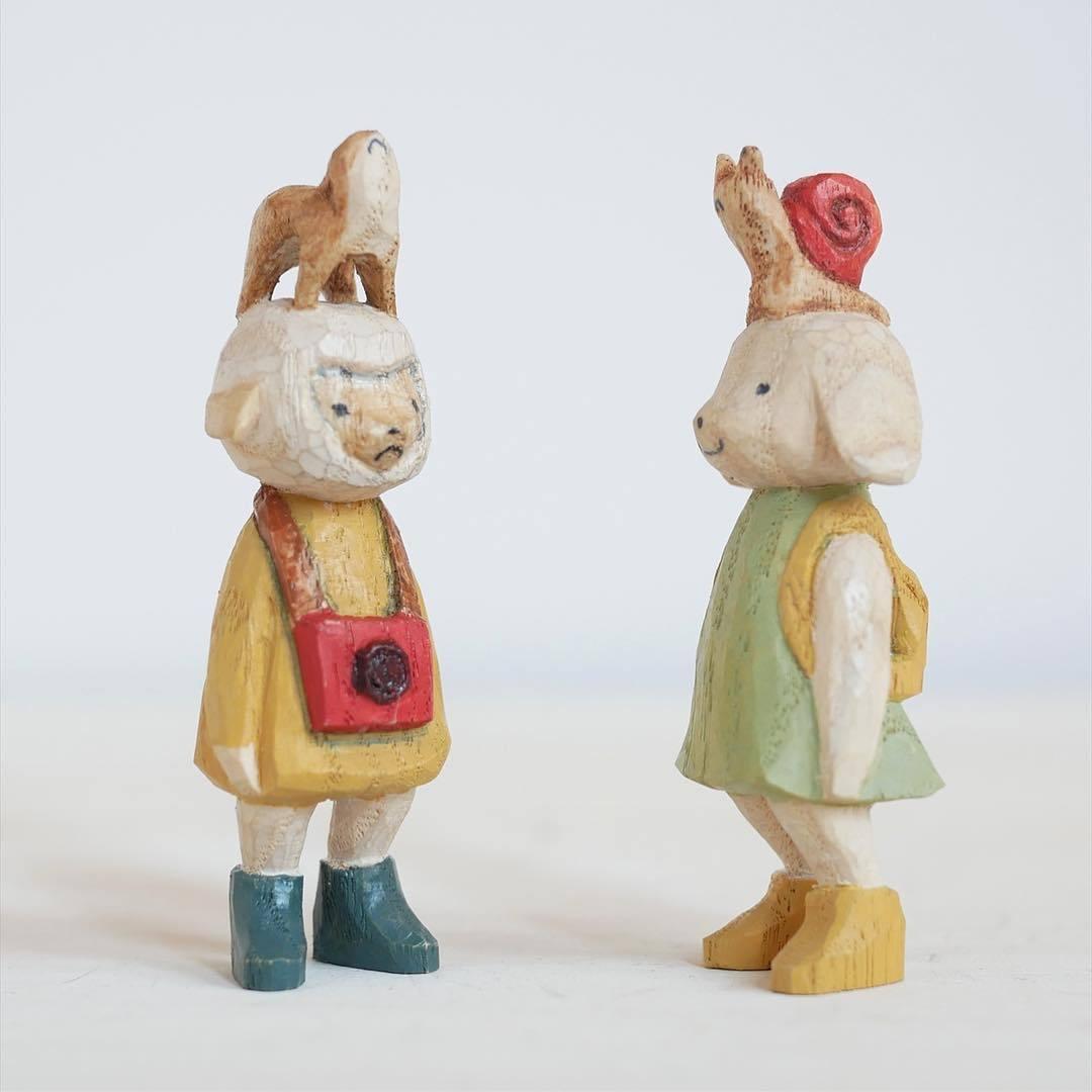 可爱的动物木雕,感觉可以用他们来写个故事~兔子剑客