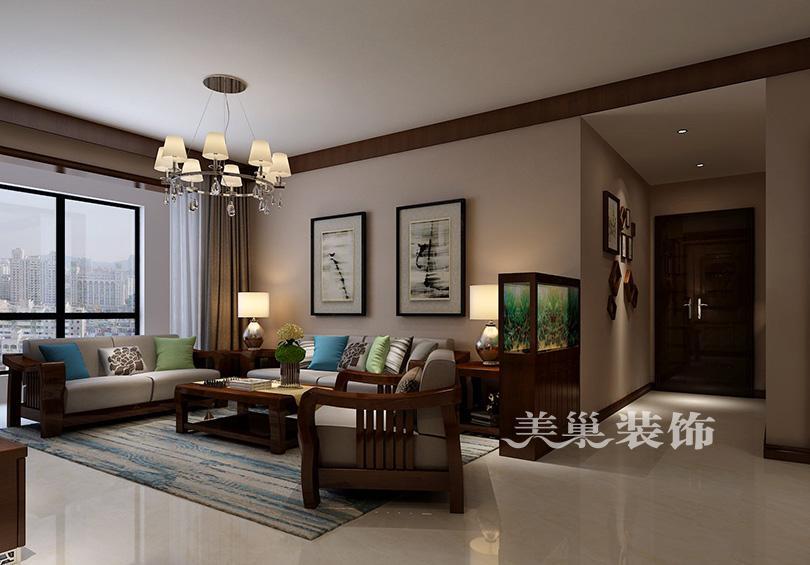 郑州美巢千鹿山装修效果图 现代中式风胡桃木与石材结合典范