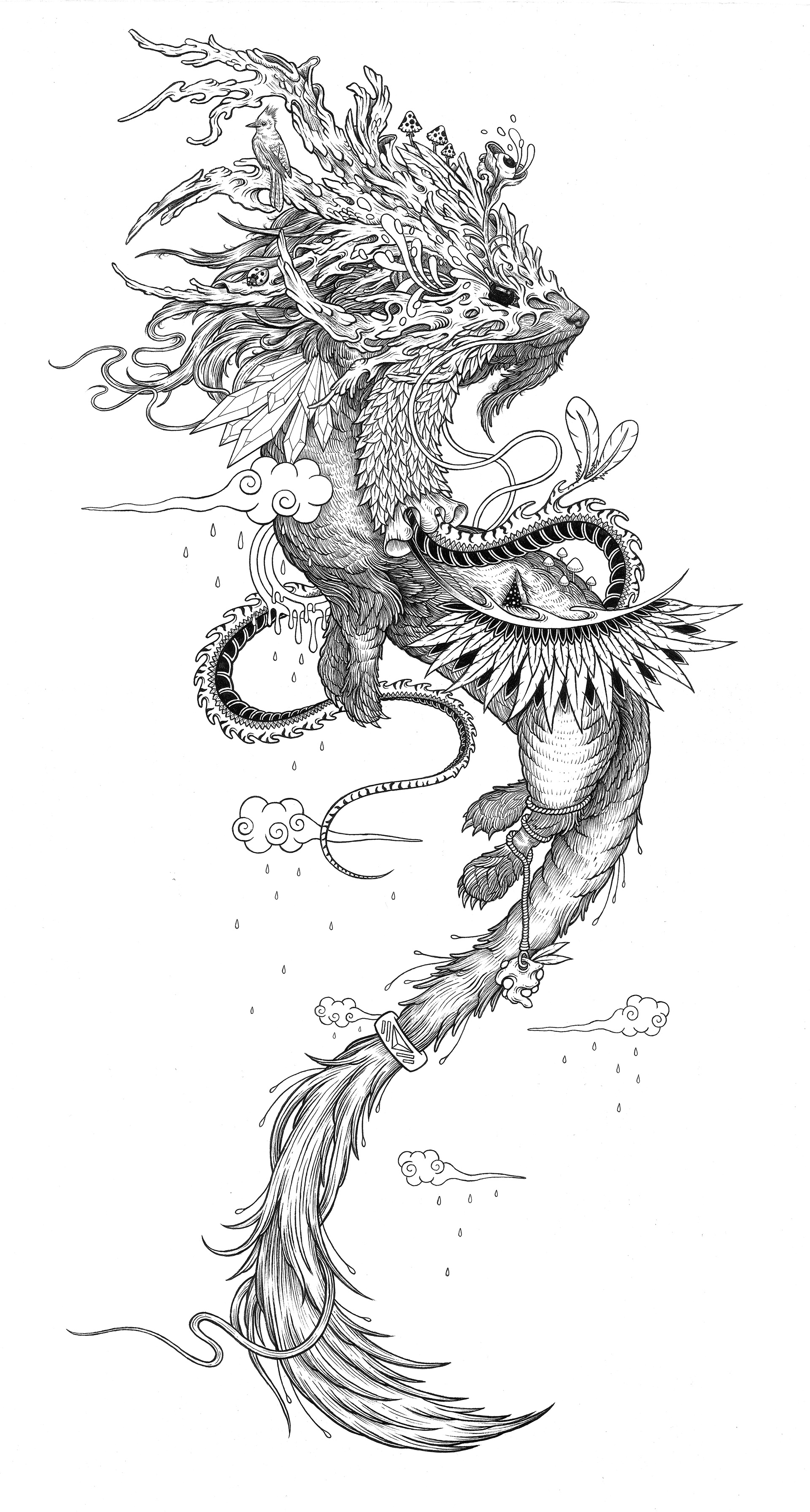 手绘山海经--灵兽插画 图形设计 手绘illustration, graphic design