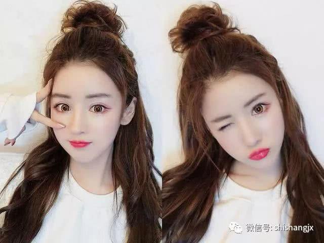 18张可爱又迷人的韩式短发半扎式丸子头发型a短发v短发短发图片